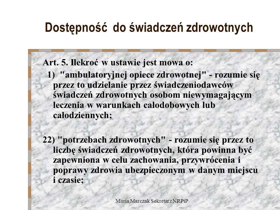 Maria Marczak Sekretarz NRPiP Dostępność do świadczeń zdrowotnych Art.