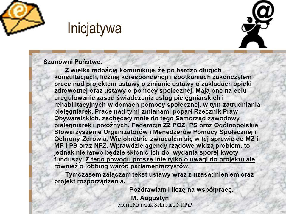 Maria Marczak Sekretarz NRPiP Inicjatywa Szanowni Państwo.