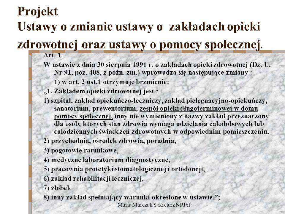 Maria Marczak Sekretarz NRPiP Projekt Ustawy o zmianie ustawy o zakładach opieki zdrowotnej oraz ustawy o pomocy społecznej. Art. 1. W ustawie z dnia