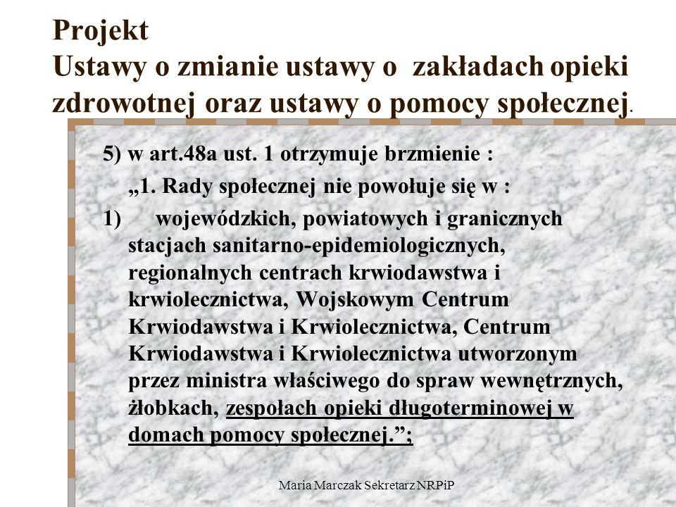 Maria Marczak Sekretarz NRPiP Projekt Ustawy o zmianie ustawy o zakładach opieki zdrowotnej oraz ustawy o pomocy społecznej. 5) w art.48a ust. 1 otrzy
