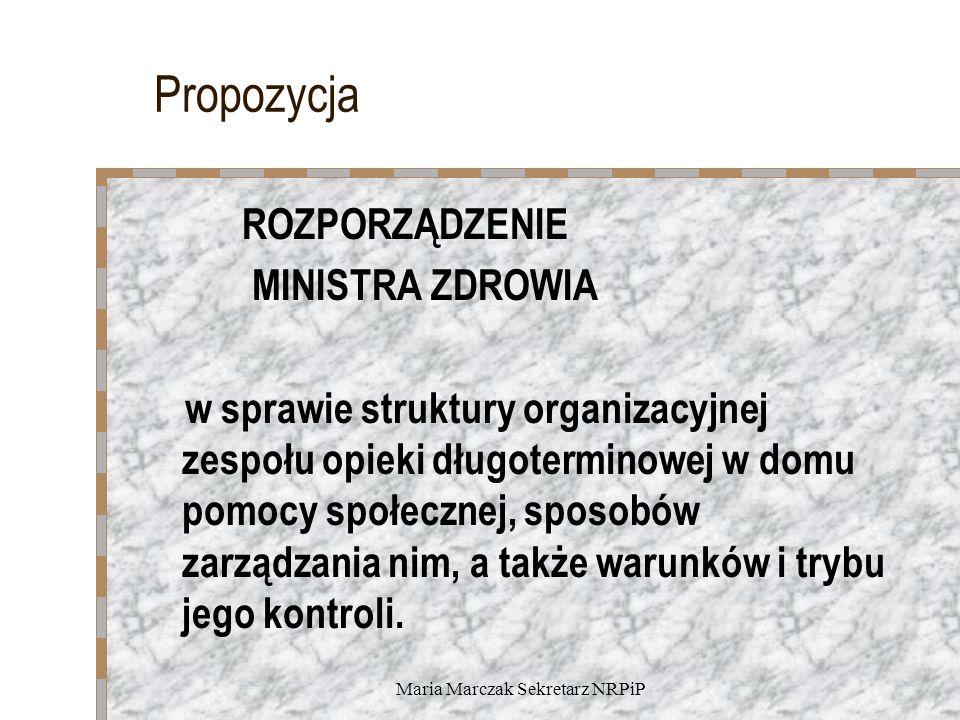 Maria Marczak Sekretarz NRPiP Propozycja ROZPORZĄDZENIE MINISTRA ZDROWIA w sprawie struktury organizacyjnej zespołu opieki długoterminowej w domu pomocy społecznej, sposobów zarządzania nim, a także warunków i trybu jego kontroli.