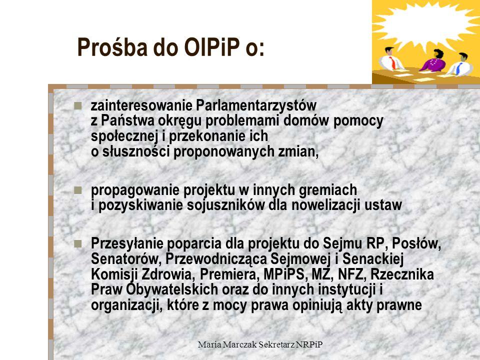 Maria Marczak Sekretarz NRPiP Prośba do OIPiP o: zainteresowanie Parlamentarzystów z Państwa okręgu problemami domów pomocy społecznej i przekonanie i