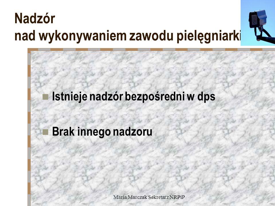 Maria Marczak Sekretarz NRPiP Nadzór nad wykonywaniem zawodu pielęgniarki Istnieje nadzór bezpośredni w dps Brak innego nadzoru