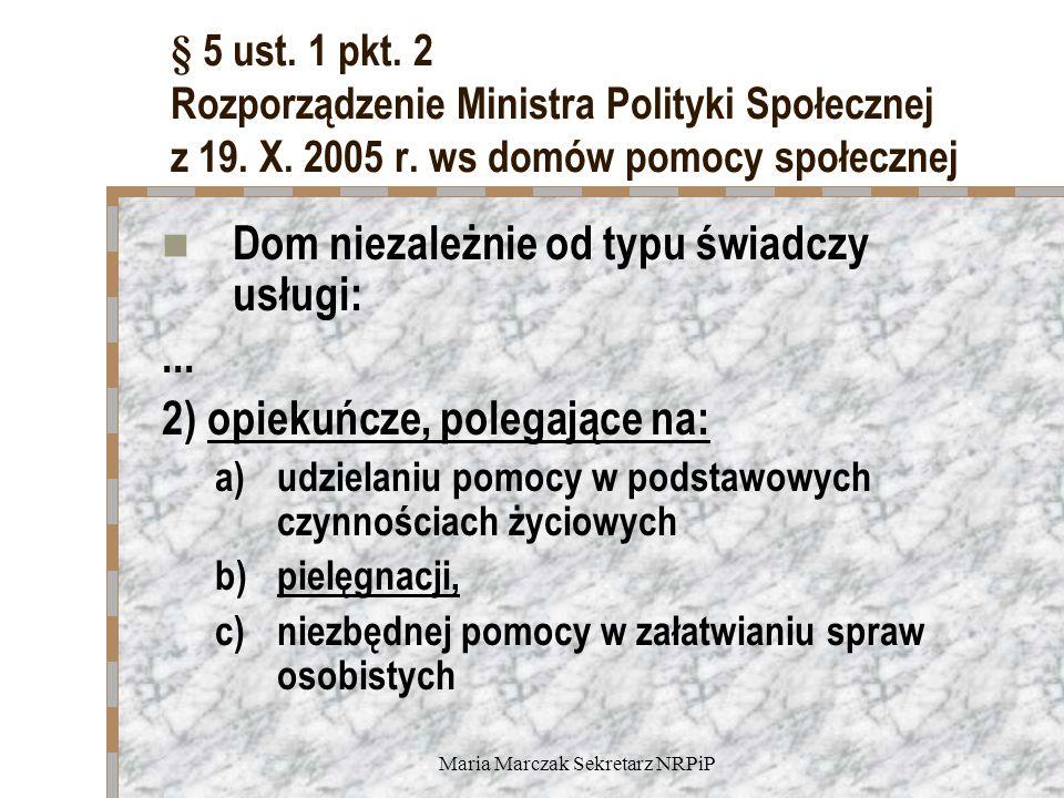 Maria Marczak Sekretarz NRPiP § 5 ust. 1 pkt. 2 Rozporządzenie Ministra Polityki Społecznej z 19. X. 2005 r. ws domów pomocy społecznej Dom niezależni