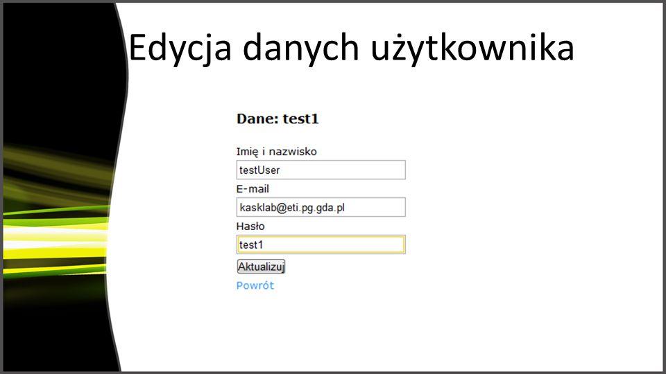 Edycja danych użytkownika