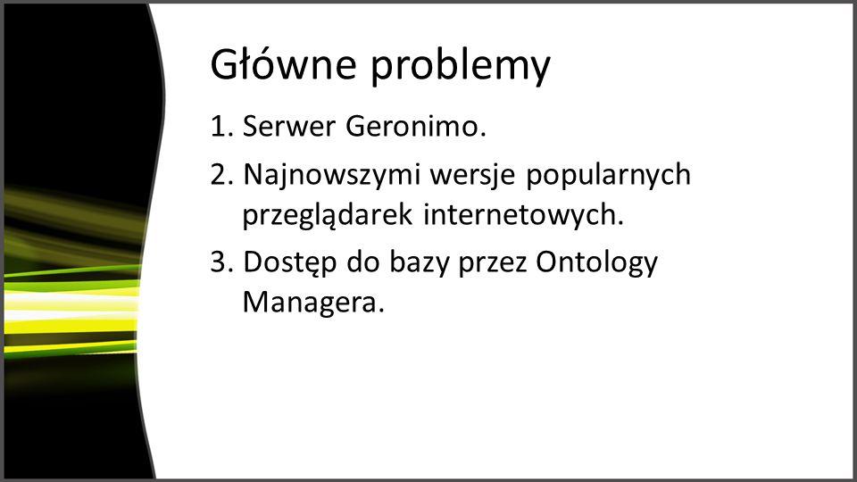 Główne problemy 1.Serwer Geronimo. 2. Najnowszymi wersje popularnych przeglądarek internetowych.