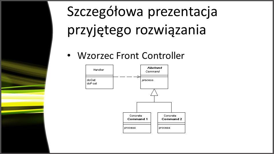 Szczegółowa prezentacja przyjętego rozwiązania (2) Szablony strony JSP = szablony sloty Widgety strony JSP = widgety widgety przypisane do slotów
