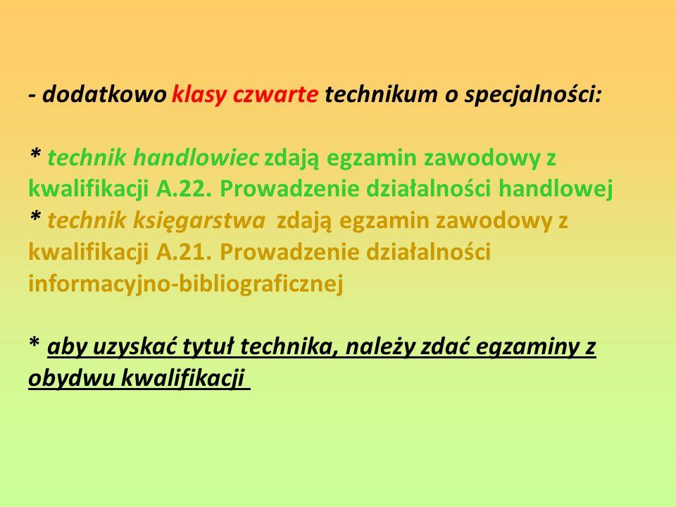 - dodatkowo klasy czwarte technikum o specjalności: * technik handlowiec zdają egzamin zawodowy z kwalifikacji A.22.