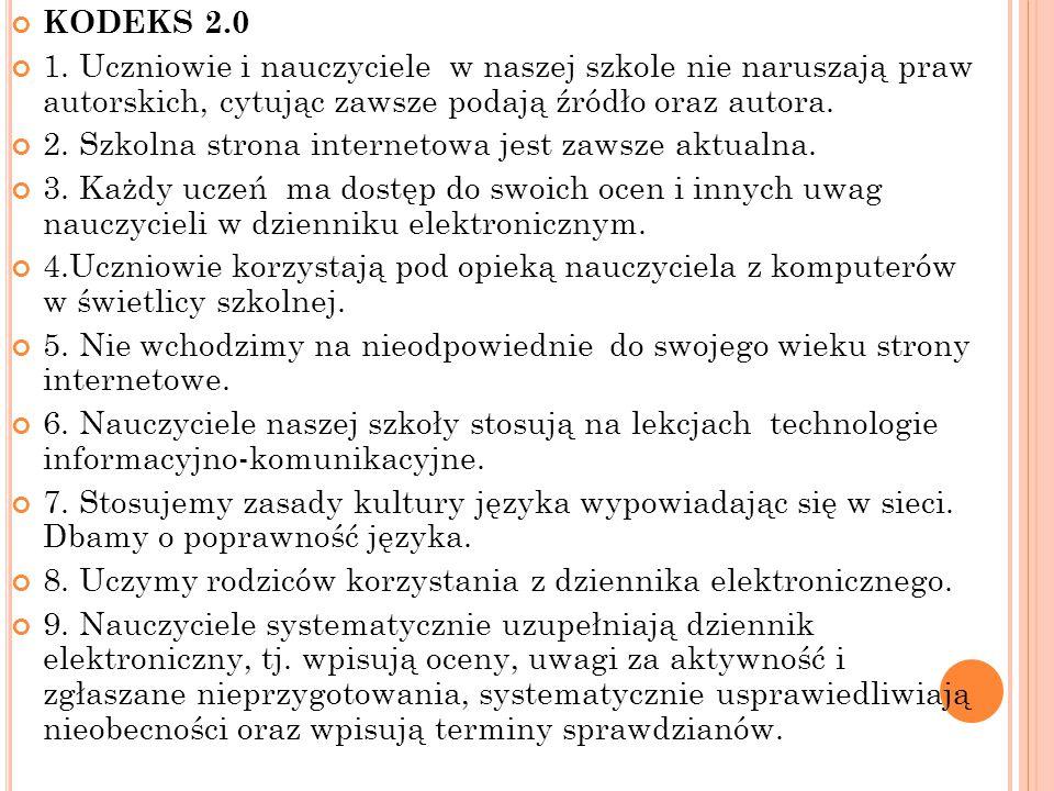 KODEKS 2.0 1. Uczniowie i nauczyciele w naszej szkole nie naruszają praw autorskich, cytując zawsze podają źródło oraz autora. 2. Szkolna strona inter