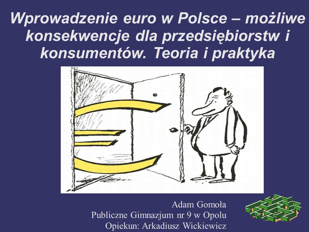Wprowadzenie euro w Polsce – możliwe konsekwencje dla przedsiębiorstw i konsumentów. Teoria i praktyka Adam Gomoła Publiczne Gimnazjum nr 9 w Opolu Op