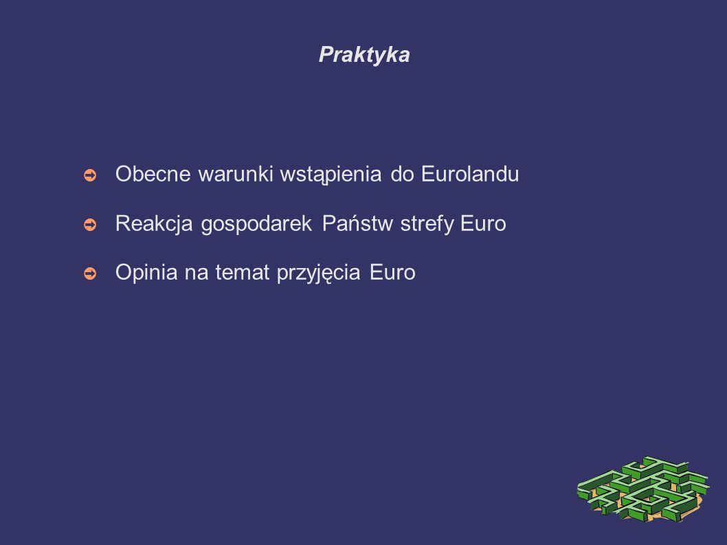Praktyka ➲ Obecne warunki wstąpienia do Eurolandu ➲ Reakcja gospodarek Państw strefy Euro ➲ Opinia na temat przyjęcia Euro