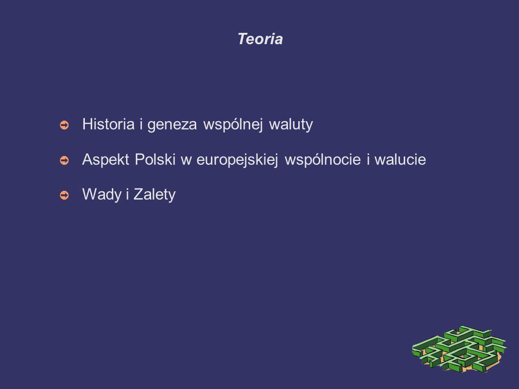 Teoria ➲ Historia i geneza wspólnej waluty ➲ Aspekt Polski w europejskiej wspólnocie i walucie ➲ Wady i Zalety
