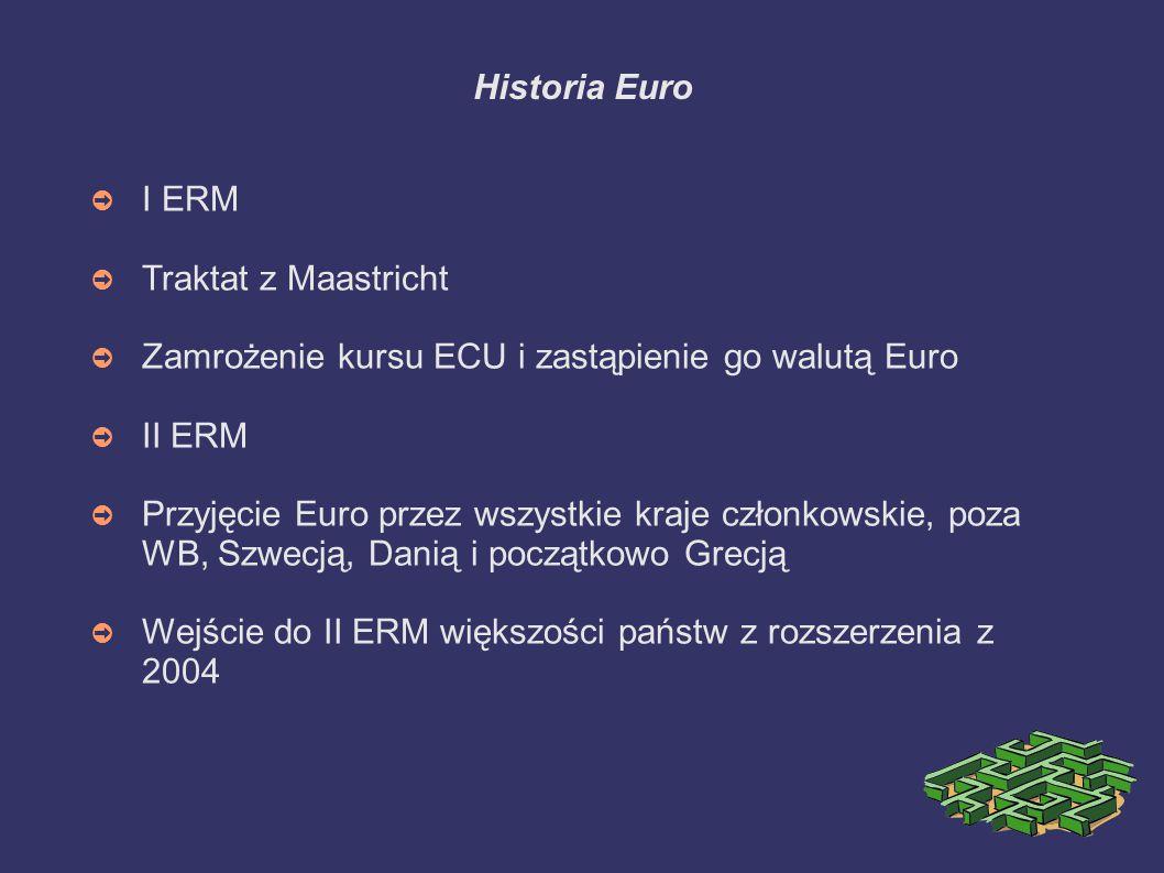 Historia Euro ➲ I ERM ➲ Traktat z Maastricht ➲ Zamrożenie kursu ECU i zastąpienie go walutą Euro ➲ II ERM ➲ Przyjęcie Euro przez wszystkie kraje człon