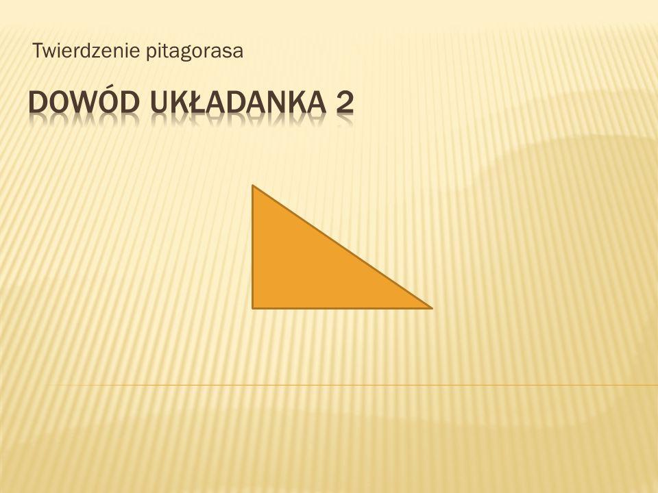 a b c a 2 c b 2 2 A ja wam to udowodnię Oznacza to, że jeżeli na bokach trójkąta prostokątnego zbudujemy kwadraty, to suma pól kwadratów zbudowanych na przyprostokątnych tego trójkąta będzie równa polu kwadratu zbudowanego na przeciwprostokątnej.