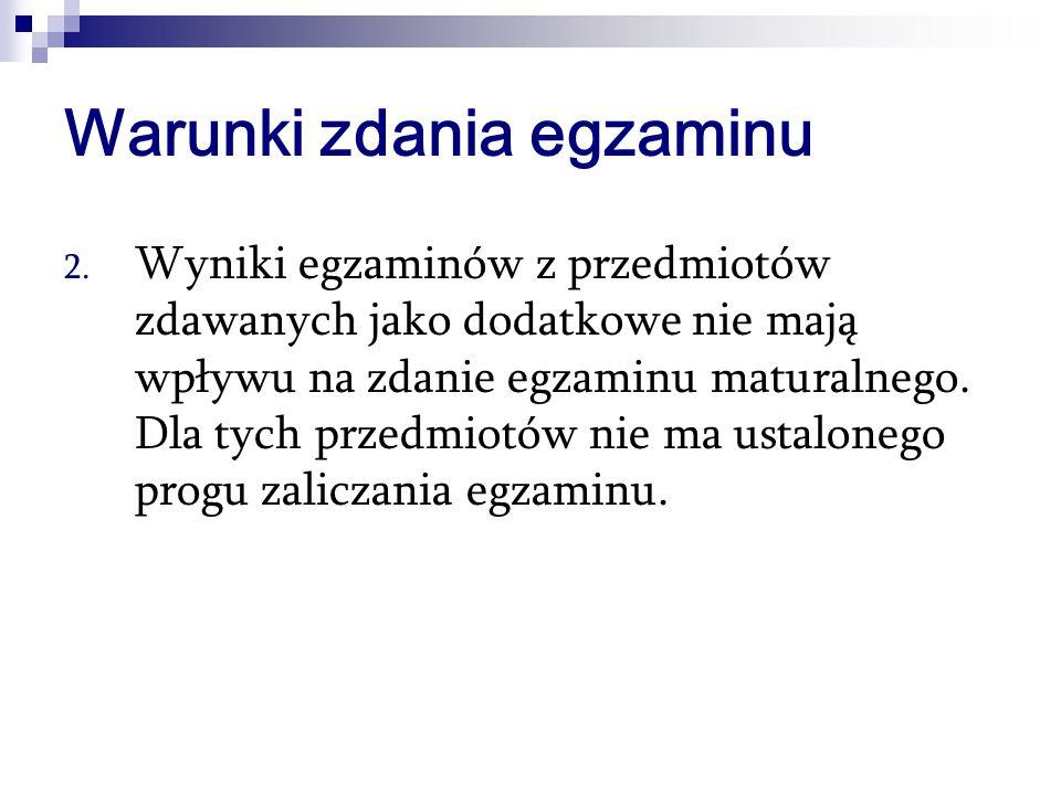 Warunki zdania egzaminu 2.