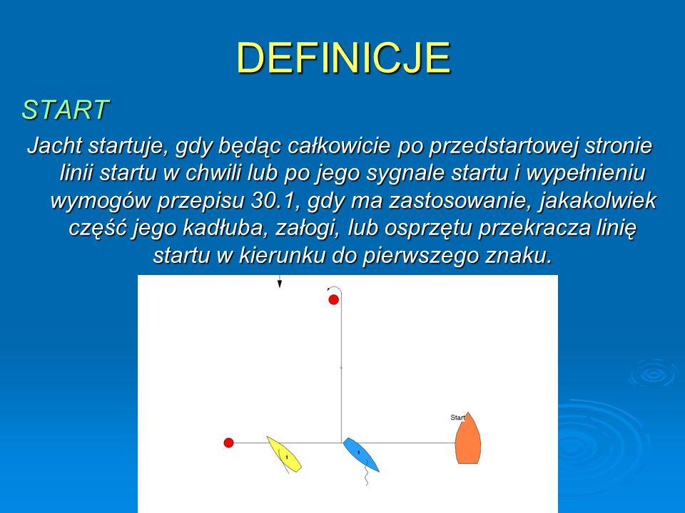 DEFINICJE START Jacht startuje, gdy będąc całkowicie po przedstartowej stronie linii startu w chwili lub po jego sygnale startu i wypełnieniu wymogów przepisu 30.1, gdy ma zastosowanie, jakakolwiek część jego kadłuba, załogi, lub osprzętu przekracza linię startu w kierunku do pierwszego znaku.