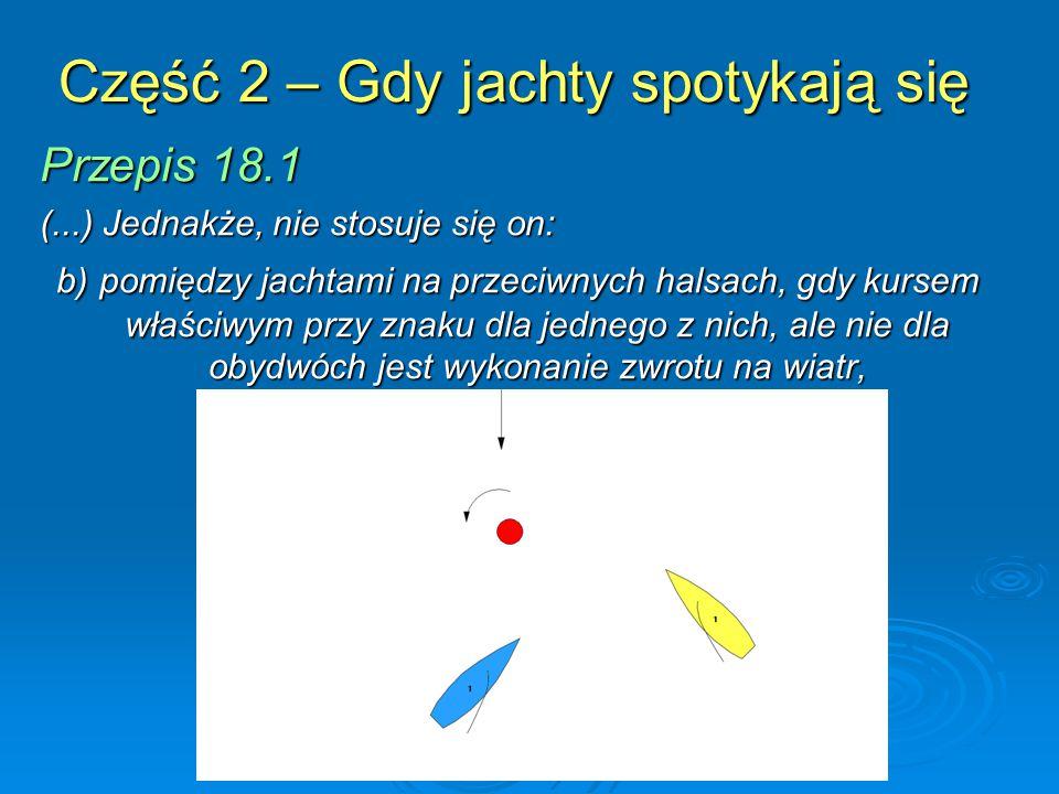 Część 2 – Gdy jachty spotykają się Przepis 18.1 (...) Jednakże, nie stosuje się on: b) pomiędzy jachtami na przeciwnych halsach, gdy kursem właściwym przy znaku dla jednego z nich, ale nie dla obydwóch jest wykonanie zwrotu na wiatr,