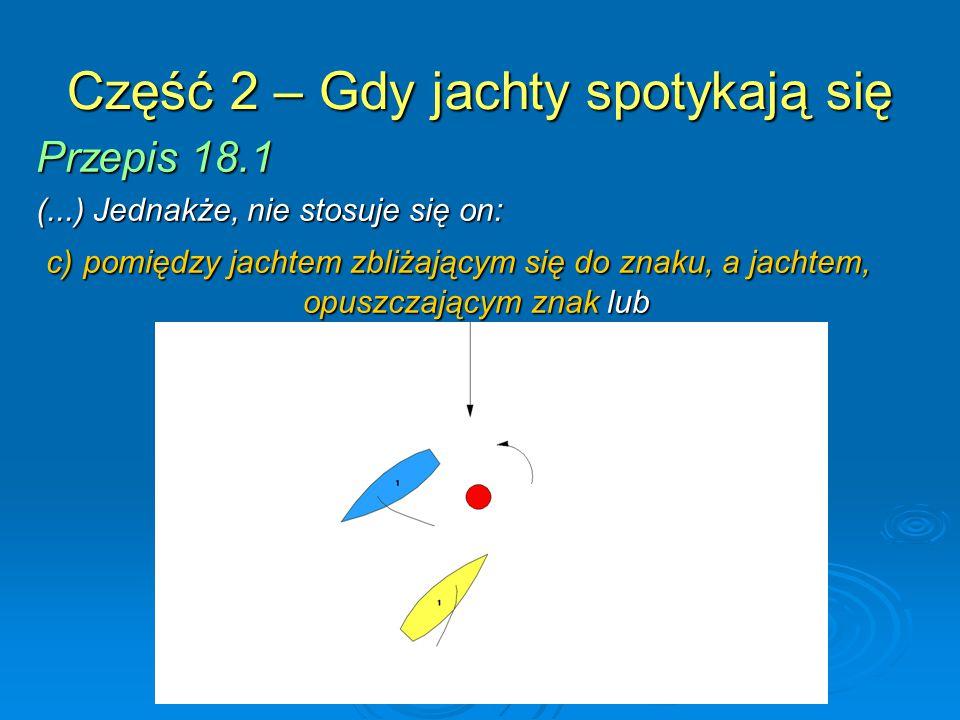 Część 2 – Gdy jachty spotykają się Przepis 18.1 (...) Jednakże, nie stosuje się on: c) pomiędzy jachtem zbliżającym się do znaku, a jachtem, opuszczaj