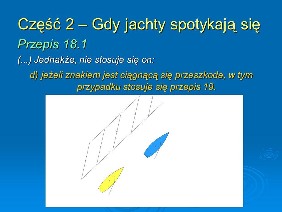 Część 2 – Gdy jachty spotykają się Przepis 18.1 (...) Jednakże, nie stosuje się on: d) jeżeli znakiem jest ciągnącą się przeszkoda, w tym przypadku stosuje się przepis 19.