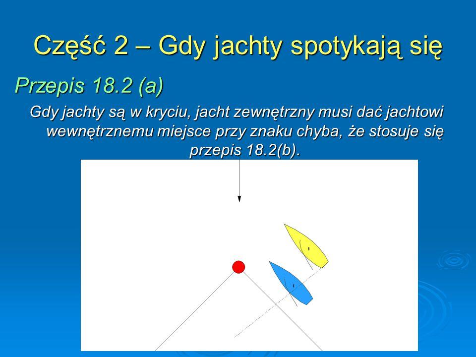 Część 2 – Gdy jachty spotykają się Przepis 18.2 (a) Gdy jachty są w kryciu, jacht zewnętrzny musi dać jachtowi wewnętrznemu miejsce przy znaku chyba, że stosuje się przepis 18.2(b).