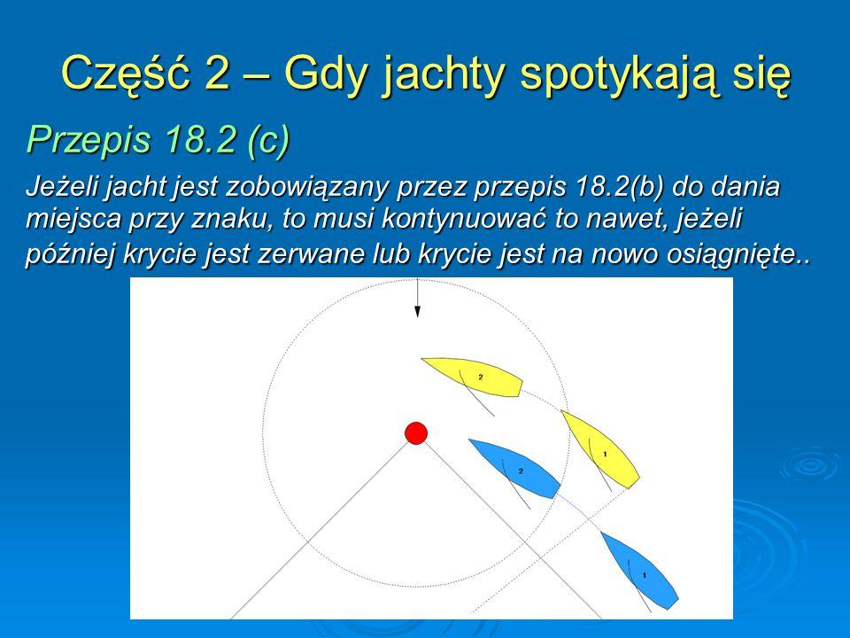Część 2 – Gdy jachty spotykają się Przepis 18.2 (c) Jeżeli jacht jest zobowiązany przez przepis 18.2(b) do dania miejsca przy znaku, to musi kontynuow