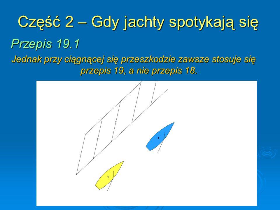 Część 2 – Gdy jachty spotykają się Przepis 19.1 Jednak przy ciągnącej się przeszkodzie zawsze stosuje się przepis 19, a nie przepis 18.