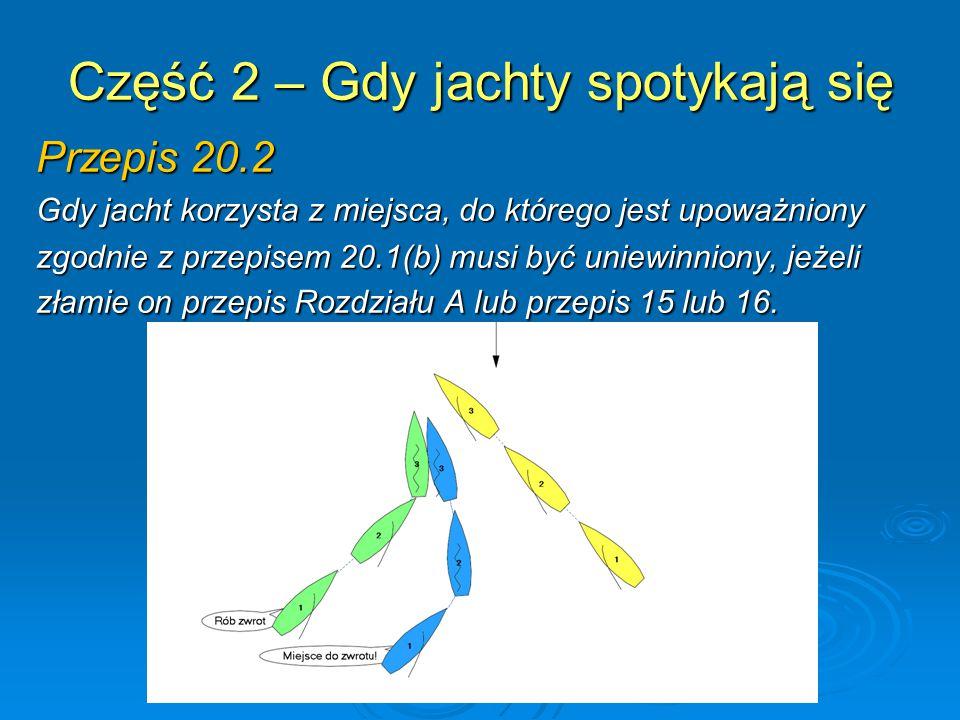 Część 2 – Gdy jachty spotykają się Przepis 20.2 Gdy jacht korzysta z miejsca, do którego jest upoważniony zgodnie z przepisem 20.1(b) musi być uniewin