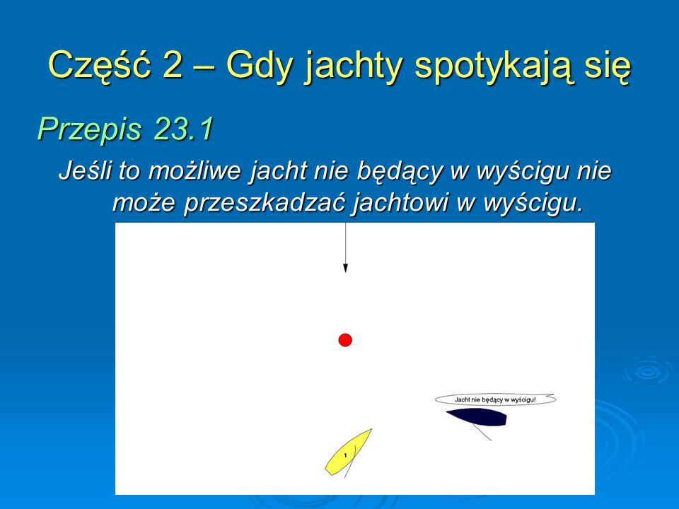 Część 2 – Gdy jachty spotykają się Przepis 23.1 Jeśli to możliwe jacht nie będący w wyścigu nie może przeszkadzać jachtowi w wyścigu.