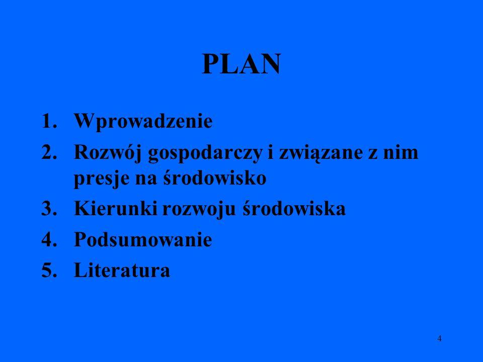 4 PLAN 1.Wprowadzenie 2.Rozwój gospodarczy i związane z nim presje na środowisko 3.Kierunki rozwoju środowiska 4.Podsumowanie 5.Literatura
