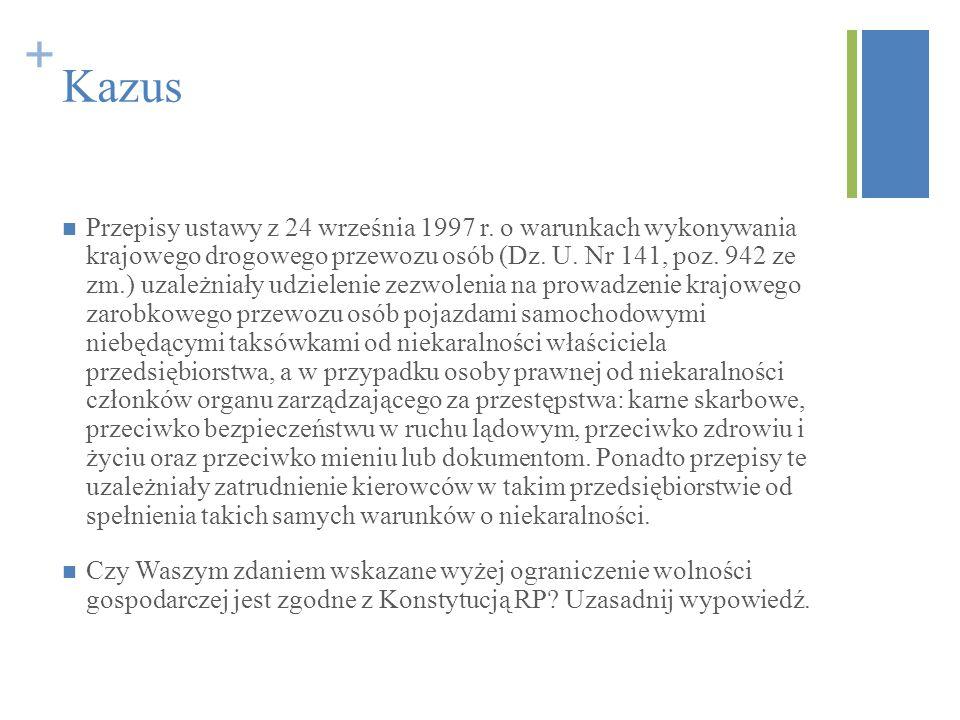 + Kazus Przepisy ustawy z 24 września 1997 r. o warunkach wykonywania krajowego drogowego przewozu osób (Dz. U. Nr 141, poz. 942 ze zm.) uzależniały u