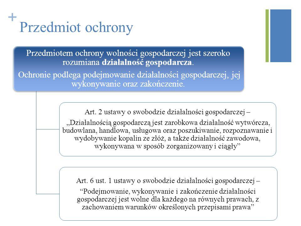 + Przedmiot ochrony Przedmiotem ochrony wolności gospodarczej jest szeroko rozumiana działalność gospodarcza. Ochronie podlega podejmowanie działalnoś