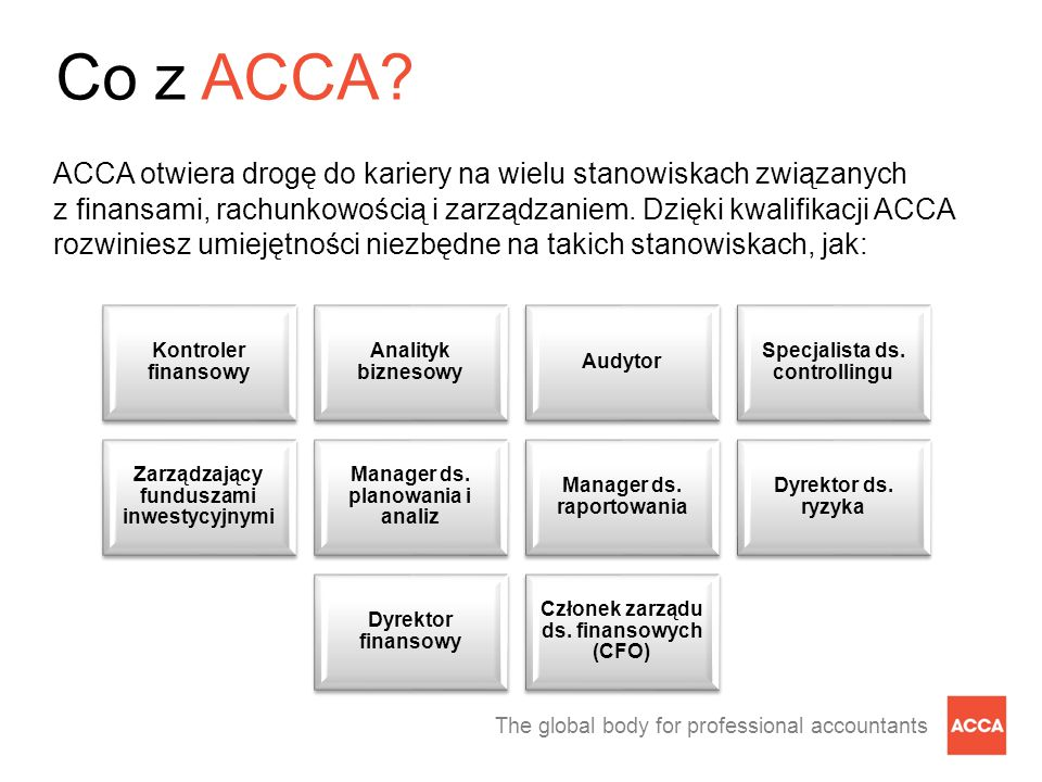 The global body for professional accountants Co z ACCA.