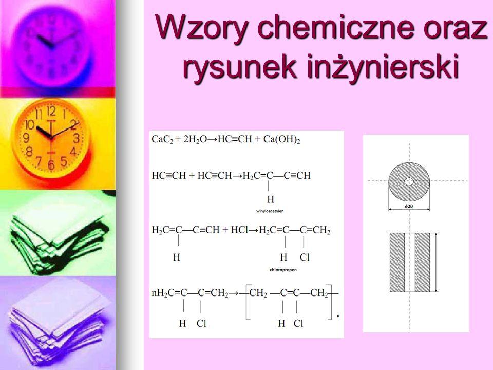 Wzory chemiczne oraz rysunek inżynierski