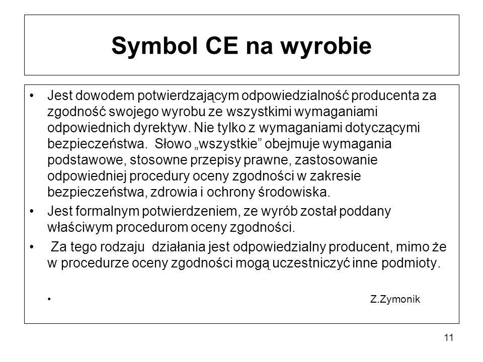 Symbol CE na wyrobie Jest dowodem potwierdzającym odpowiedzialność producenta za zgodność swojego wyrobu ze wszystkimi wymaganiami odpowiednich dyrekt