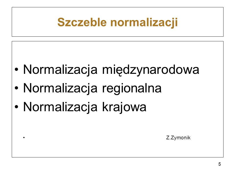 Szczeble normalizacji Normalizacja międzynarodowa Normalizacja regionalna Normalizacja krajowa Z.Zymonik 5