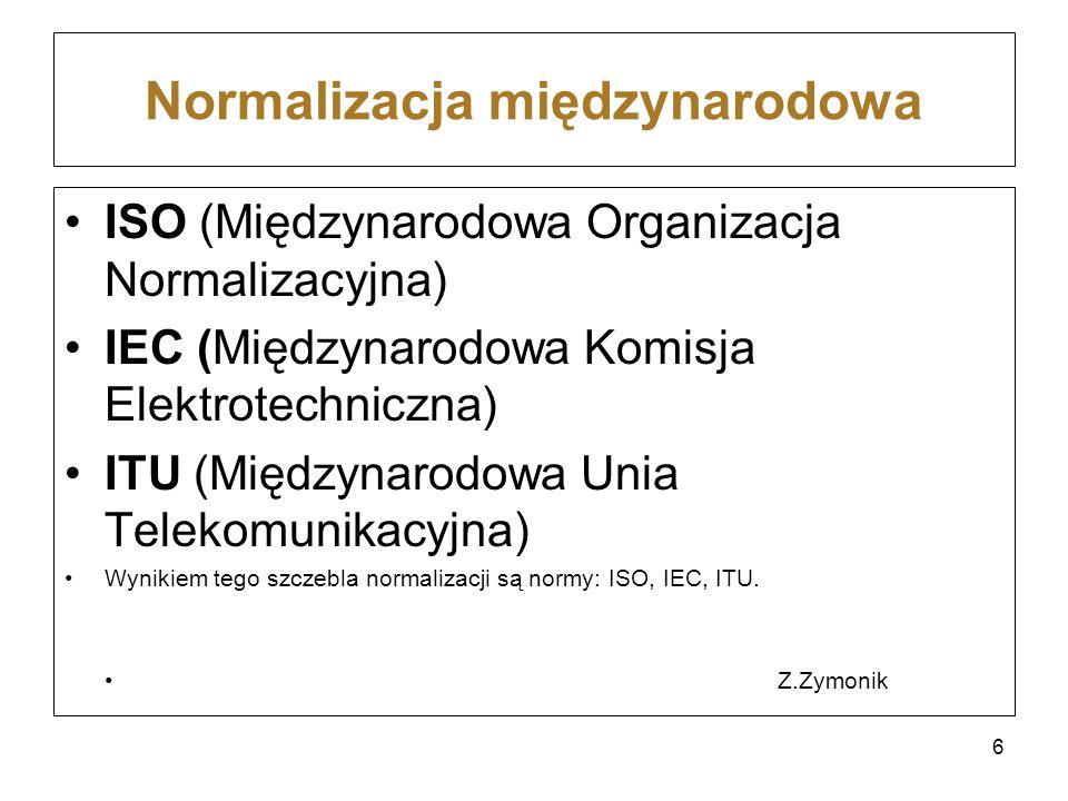 Normalizacja międzynarodowa ISO (Międzynarodowa Organizacja Normalizacyjna) IEC (Międzynarodowa Komisja Elektrotechniczna) ITU (Międzynarodowa Unia Te