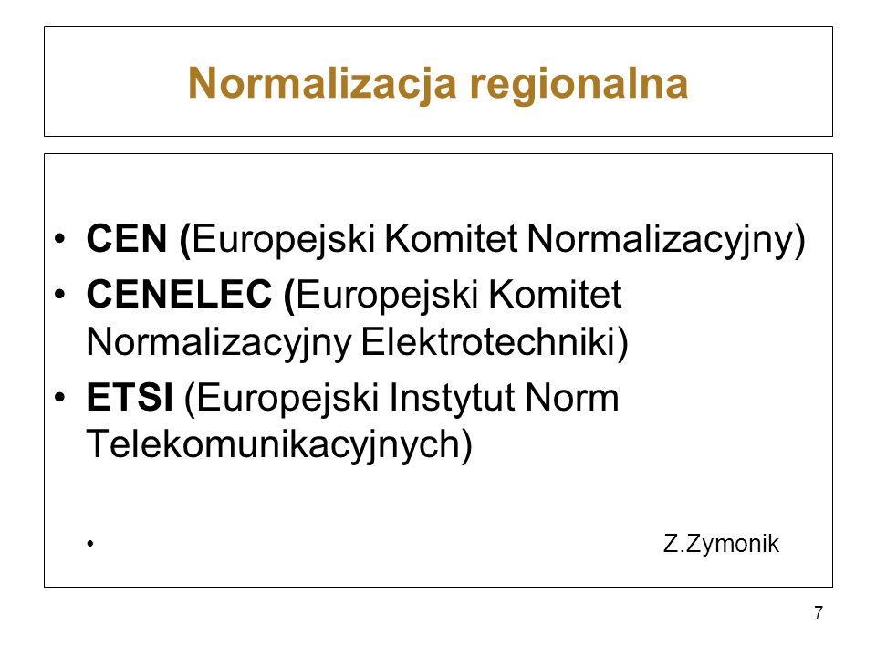 Normalizacja regionalna CEN (Europejski Komitet Normalizacyjny) CENELEC (Europejski Komitet Normalizacyjny Elektrotechniki) ETSI (Europejski Instytut