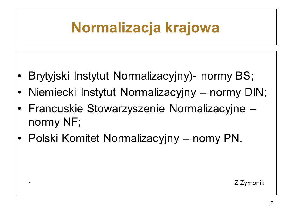 Normalizacja krajowa Brytyjski Instytut Normalizacyjny)- normy BS; Niemiecki Instytut Normalizacyjny – normy DIN; Francuskie Stowarzyszenie Normalizac