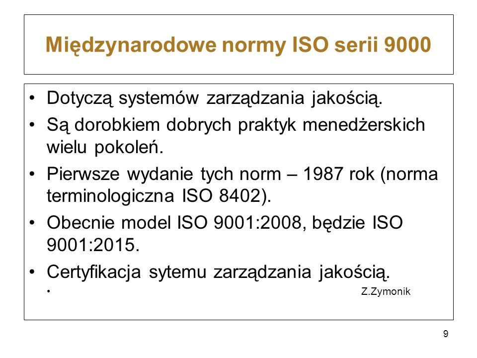 Międzynarodowe normy ISO serii 9000 Dotyczą systemów zarządzania jakością. Są dorobkiem dobrych praktyk menedżerskich wielu pokoleń. Pierwsze wydanie