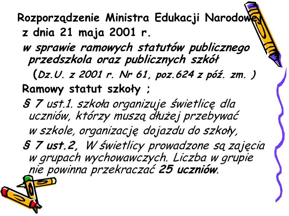 Rozporządzenie Ministra Edukacji Narodowej z dnia 21 maja 2001 r. w sprawie ramowych statutów publicznego przedszkola oraz publicznych szkół ( Dz.U. z