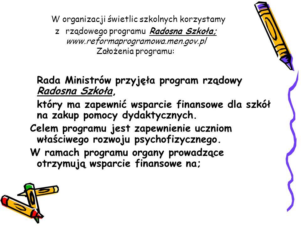 W organizacji świetlic szkolnych korzystamy z rządowego programu Radosna Szkoła; www.reformaprogramowa.men.gov.pl Założenia programu: Rada Ministrów p