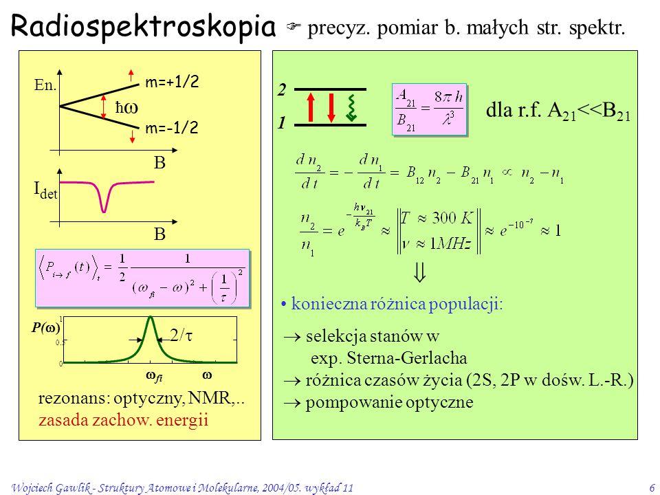 Wojciech Gawlik - Struktury Atomowe i Molekularne, 2004/05.