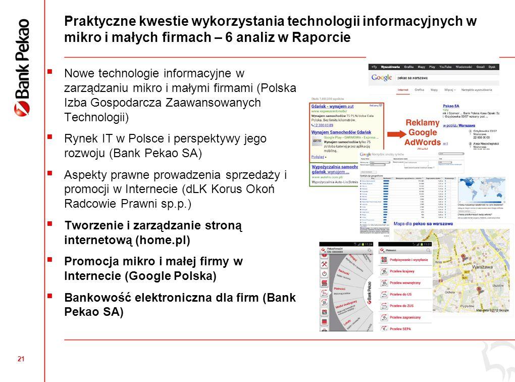 21 Praktyczne kwestie wykorzystania technologii informacyjnych w mikro i małych firmach – 6 analiz w Raporcie  Nowe technologie informacyjne w zarządzaniu mikro i małymi firmami (Polska Izba Gospodarcza Zaawansowanych Technologii)  Rynek IT w Polsce i perspektywy jego rozwoju (Bank Pekao SA)  Aspekty prawne prowadzenia sprzedaży i promocji w Internecie (dLK Korus Okoń Radcowie Prawni sp.p.)  Tworzenie i zarządzanie stroną internetową (home.pl)  Promocja mikro i małej firmy w Internecie (Google Polska)  Bankowość elektroniczna dla firm (Bank Pekao SA)