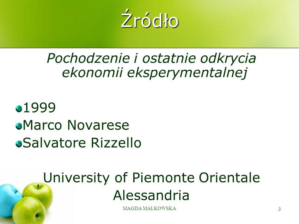 MAGDA MAŁKOWSKA 3 Źródło Pochodzenie i ostatnie odkrycia ekonomii eksperymentalnej 1999 Marco Novarese Salvatore Rizzello University of Piemonte Orien