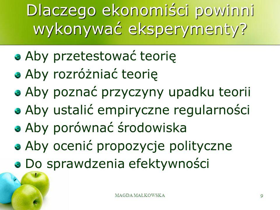 MAGDA MAŁKOWSKA 9 Dlaczego ekonomiści powinni wykonywać eksperymenty.