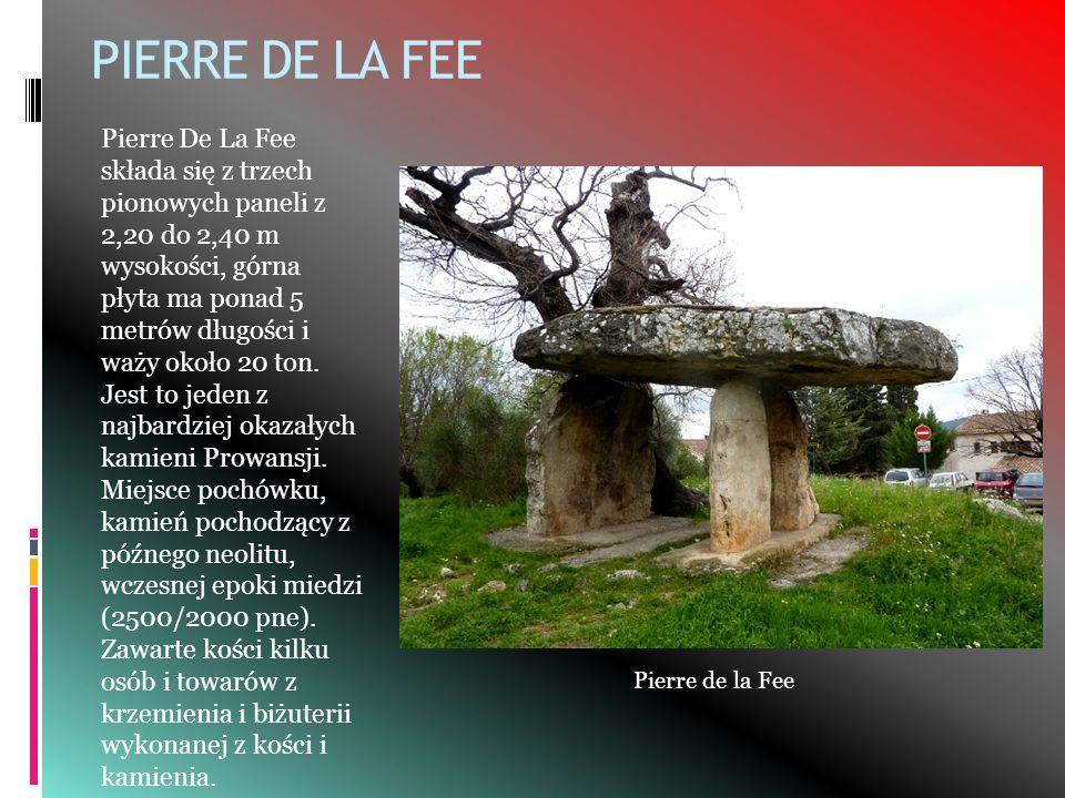 PIERRE DE LA FEE Pierre De La Fee składa się z trzech pionowych paneli z 2,20 do 2,40 m wysokości, górna płyta ma ponad 5 metrów długości i waży około 20 ton.