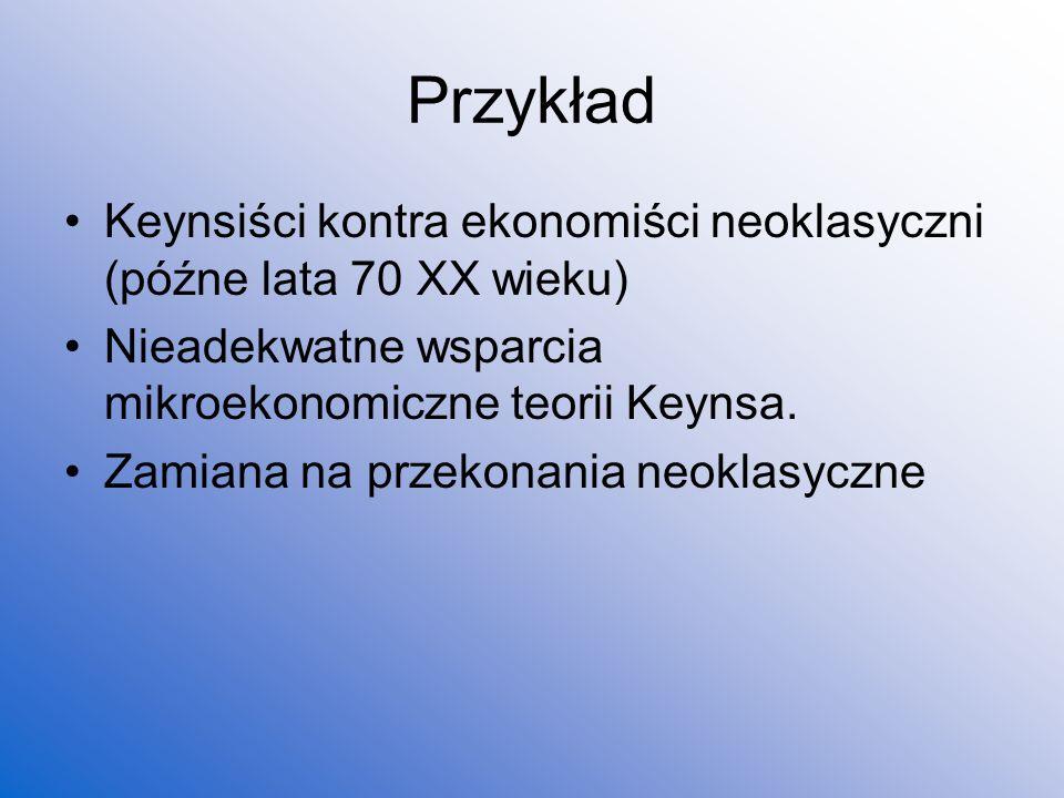 Przykład Keynsiści kontra ekonomiści neoklasyczni (późne lata 70 XX wieku) Nieadekwatne wsparcia mikroekonomiczne teorii Keynsa.