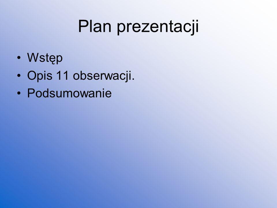 Plan prezentacji Wstęp Opis 11 obserwacji. Podsumowanie