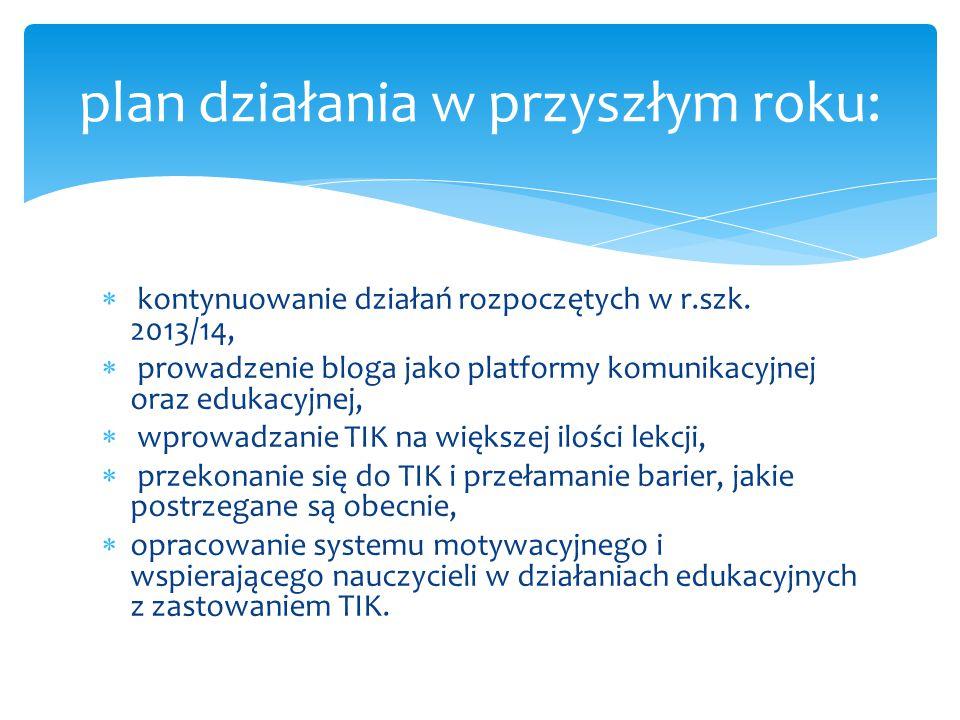  kontynuowanie działań rozpoczętych w r.szk. 2013/14,  prowadzenie bloga jako platformy komunikacyjnej oraz edukacyjnej,  wprowadzanie TIK na więks
