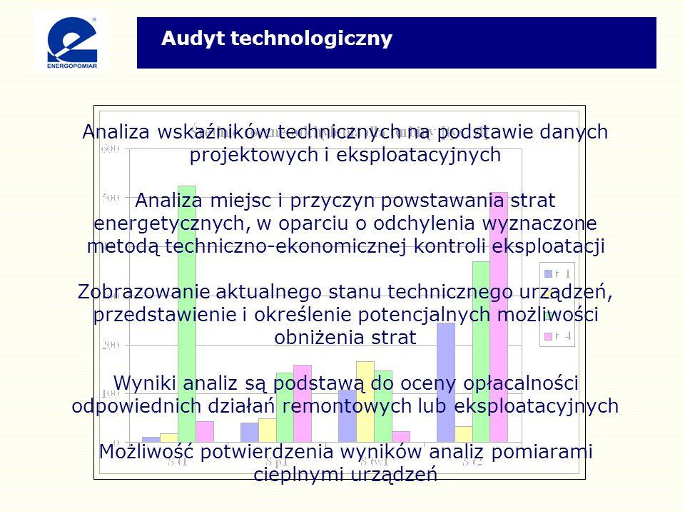 Analiza wskaźników technicznych na podstawie danych projektowych i eksploatacyjnych Analiza miejsc i przyczyn powstawania strat energetycznych, w oparciu o odchylenia wyznaczone metodą techniczno-ekonomicznej kontroli eksploatacji Zobrazowanie aktualnego stanu technicznego urządzeń, przedstawienie i określenie potencjalnych możliwości obniżenia strat Wyniki analiz są podstawą do oceny opłacalności odpowiednich działań remontowych lub eksploatacyjnych Możliwość potwierdzenia wyników analiz pomiarami cieplnymi urządzeń Audyt technologiczny
